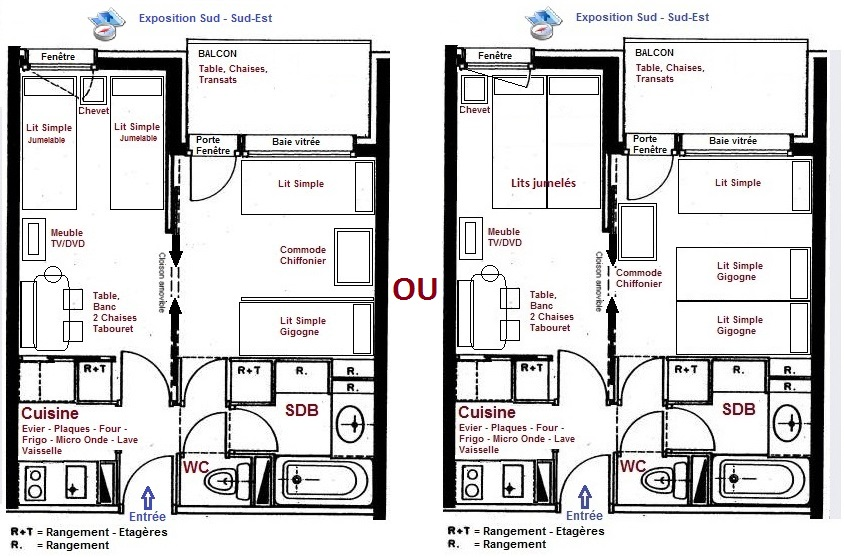 Plan et disposition de l'appartement à Valmorel