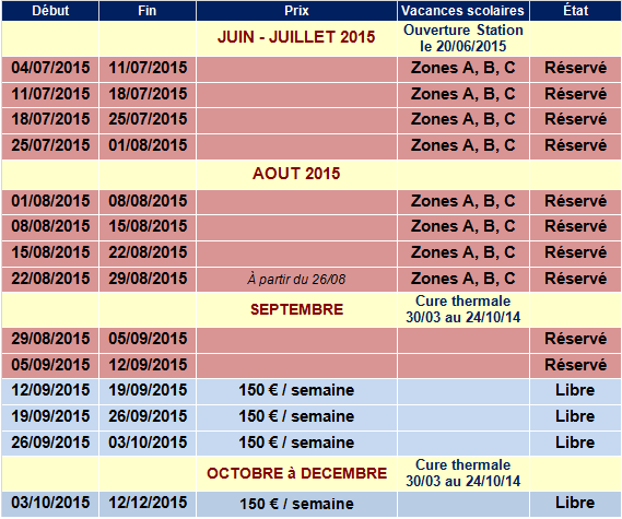 Planning Reservation Valmorel ETE 2015