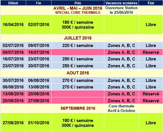 Planning Reservation Valmorel ETE 2016